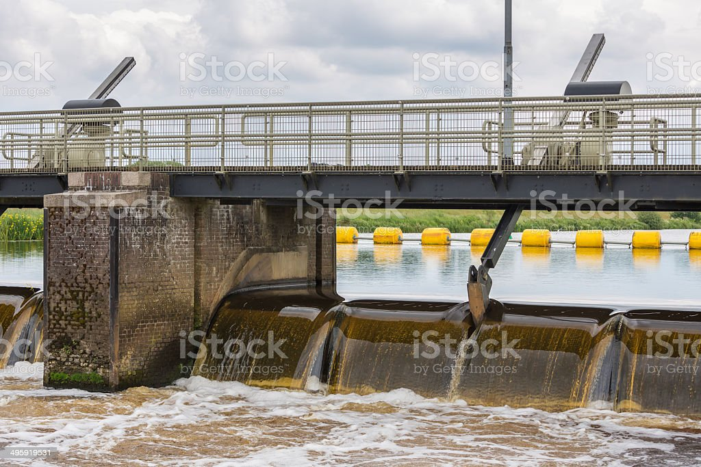 Barrage in Dutch river Vecht stock photo