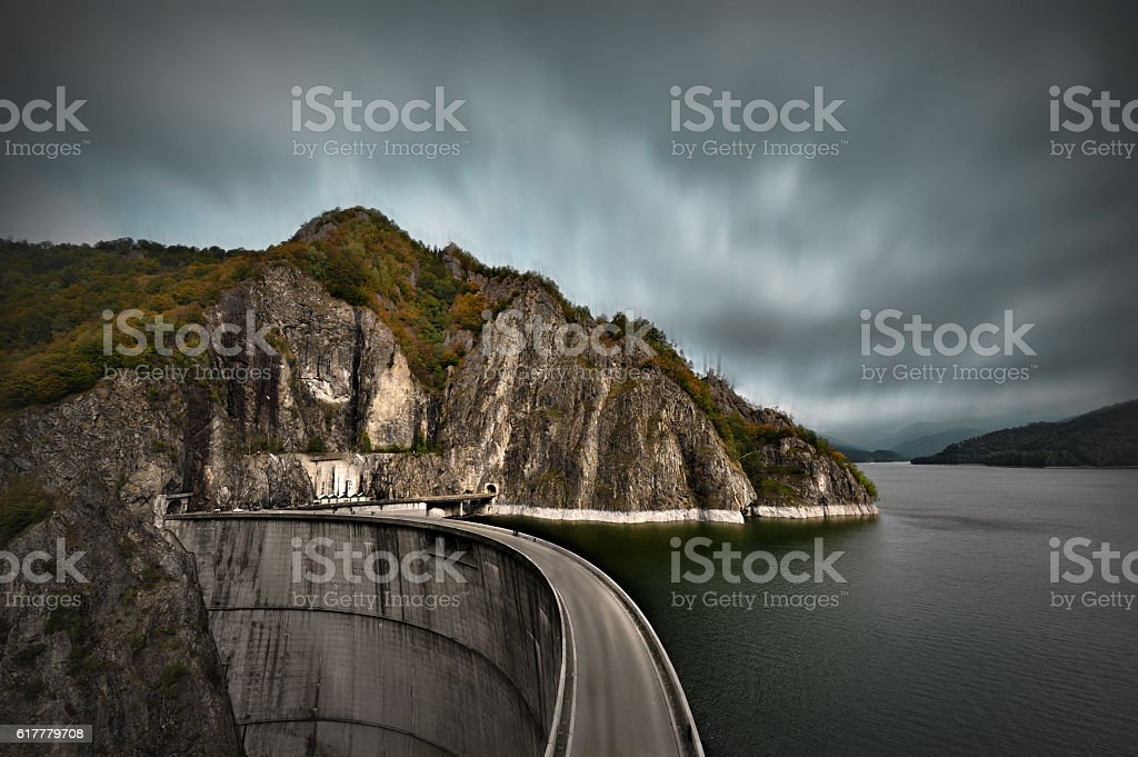 Barrage Vidraru in Romania. stock photo