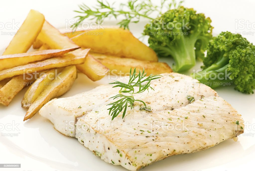 Barramundi Filet with Chips stock photo