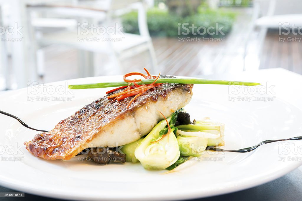 barramundi steak stock photo