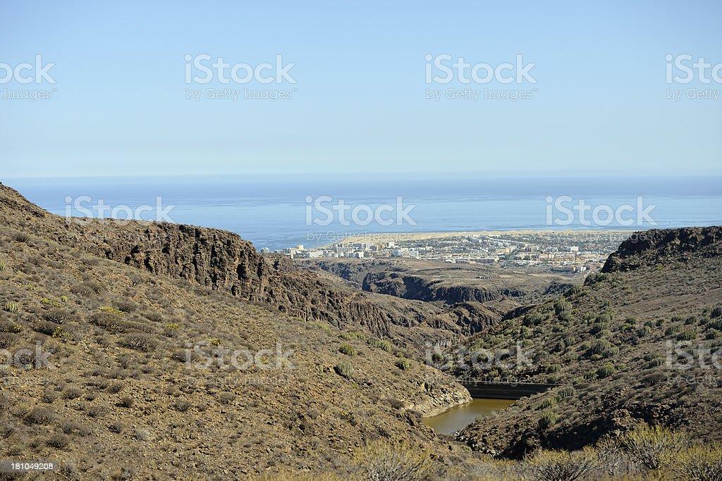 Barranco de Fataga landscape of central mountains Gran Canaria (Spain) royalty-free stock photo
