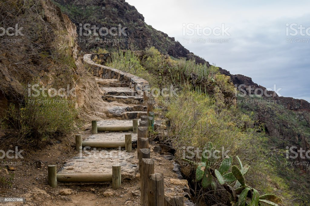 Barranco del Infierno hiking path steps stock photo