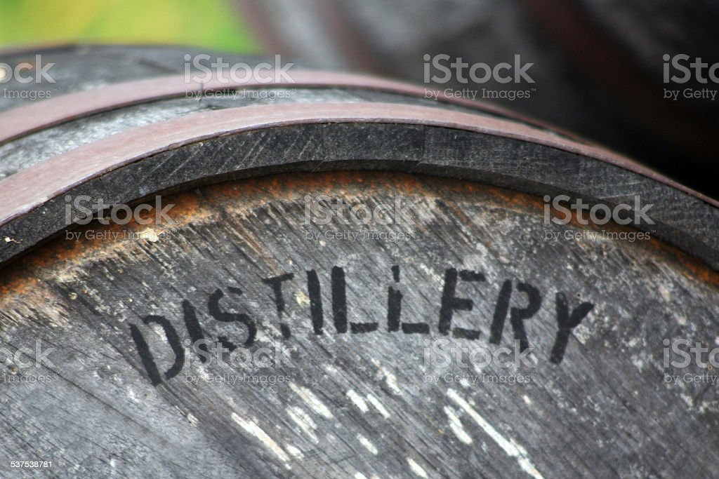 Barrel for aging whiskey stock photo