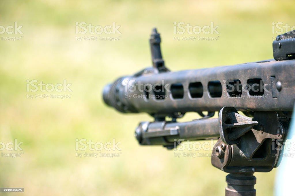 Barrel of a machine gun stock photo