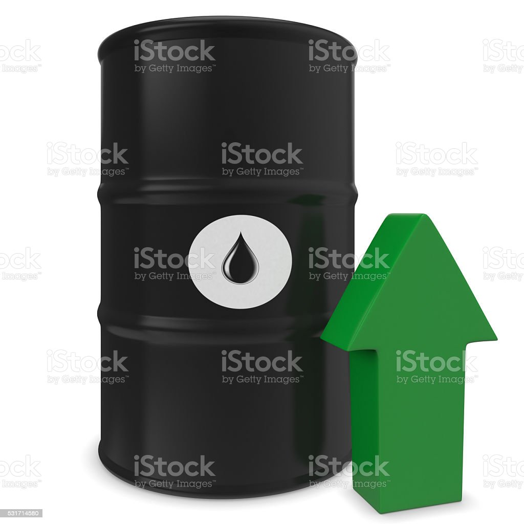Barrel of oil and green arrow stock photo