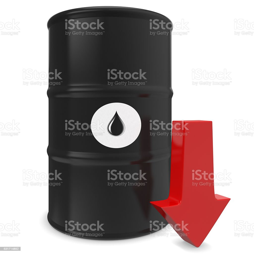Barrel of oil and red arrow stock photo