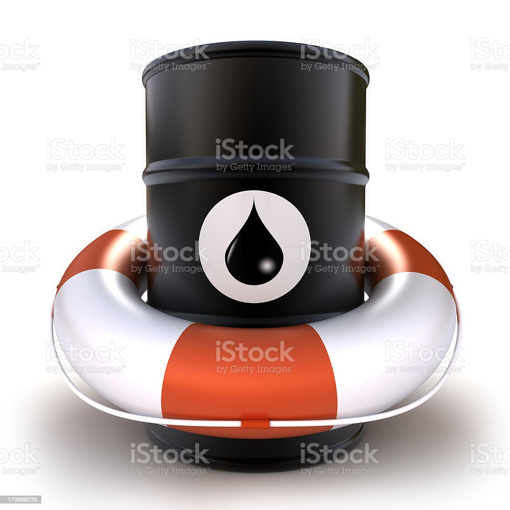 Barrel of oil in lifebuoy - isolated  with clipping path royalty-free stock photo
