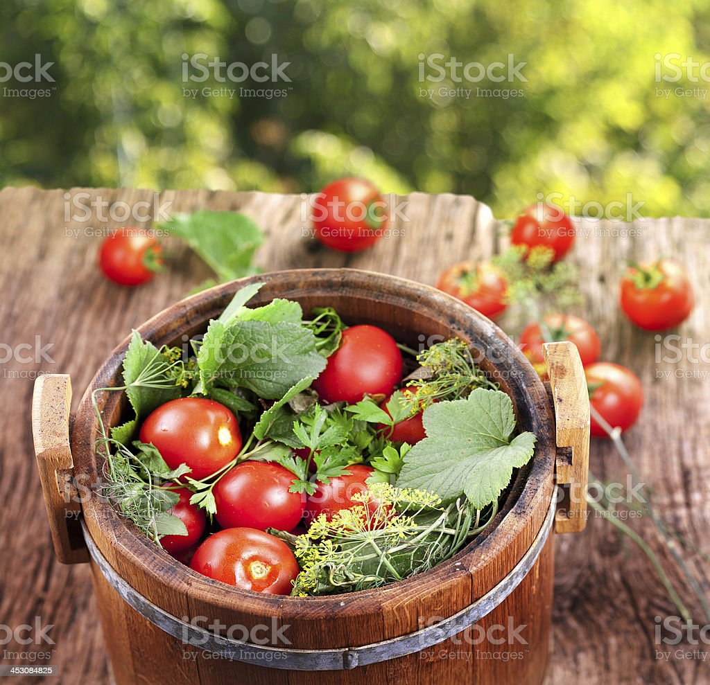 Barrel of pickled tomatoes. royalty-free stock photo
