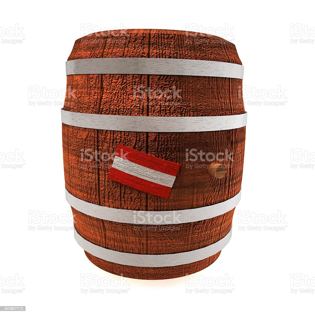 Barrel of wine with Austria flag stock photo