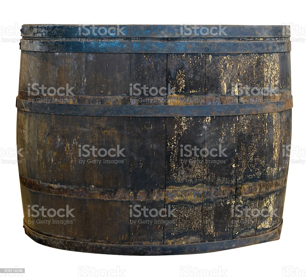 Barrel Old Rustic Broad Large Grunge Weathered Isolated Clipping-Path stock photo