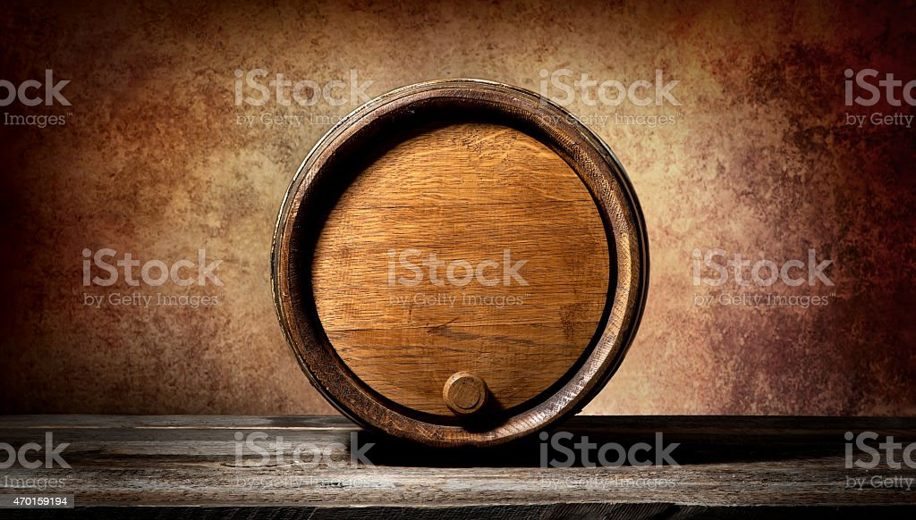 Barrel on brown background stock photo