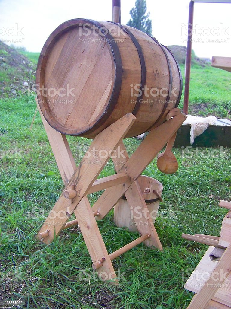 Barrel on sawbuck stock photo