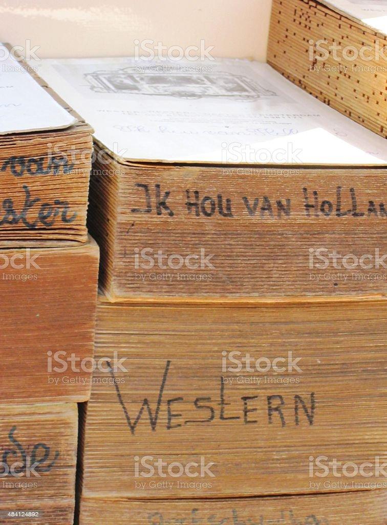 barrel organ books stock photo