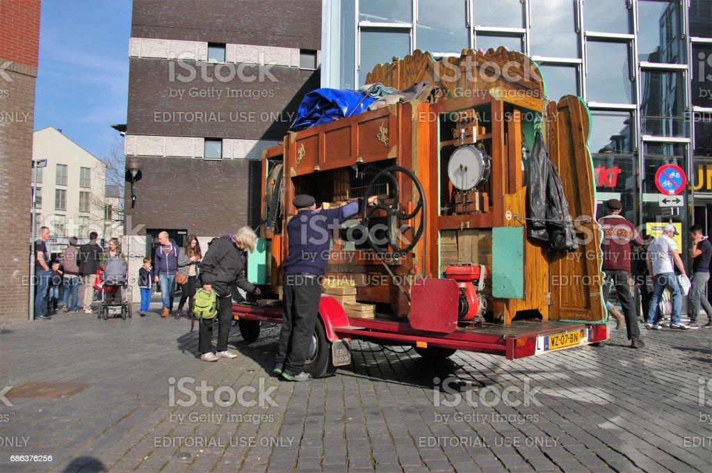 Barrel organ in the city stock photo