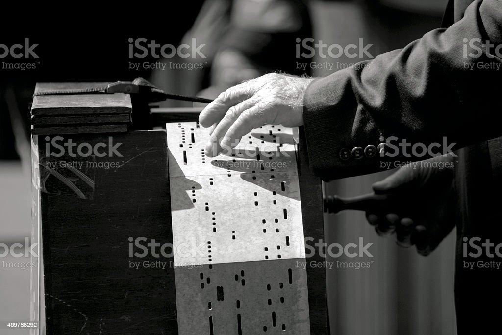 Barrel organ player in Paris stock photo