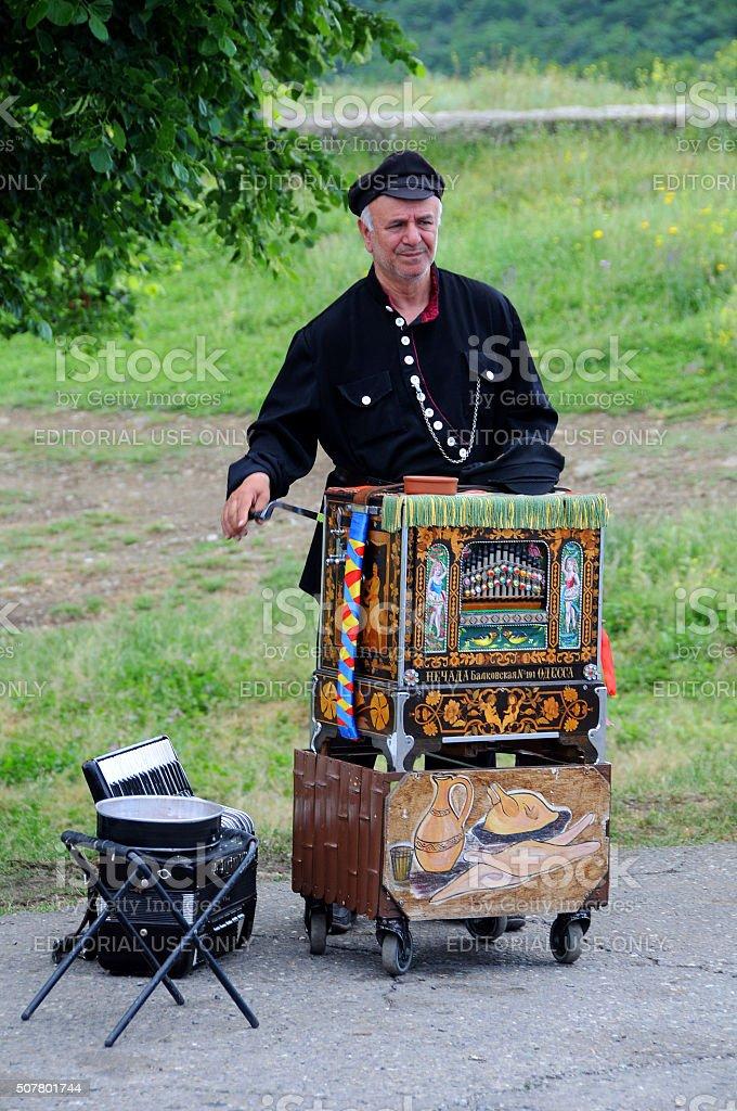 Barrel Organ Player stock photo