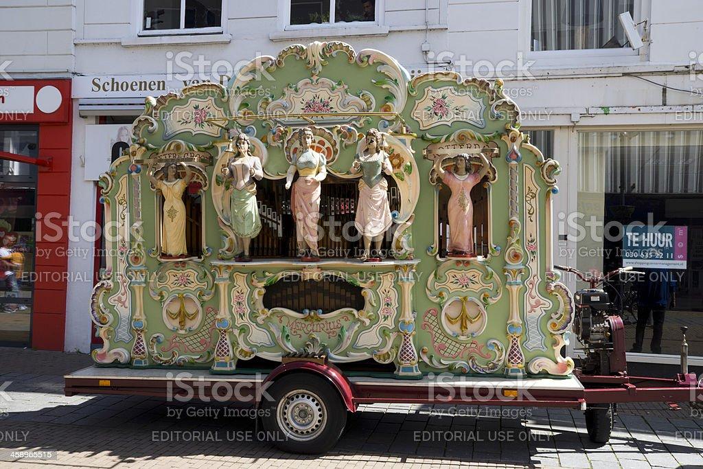 Barrel organ playing in the streets of Gorinchem. stock photo