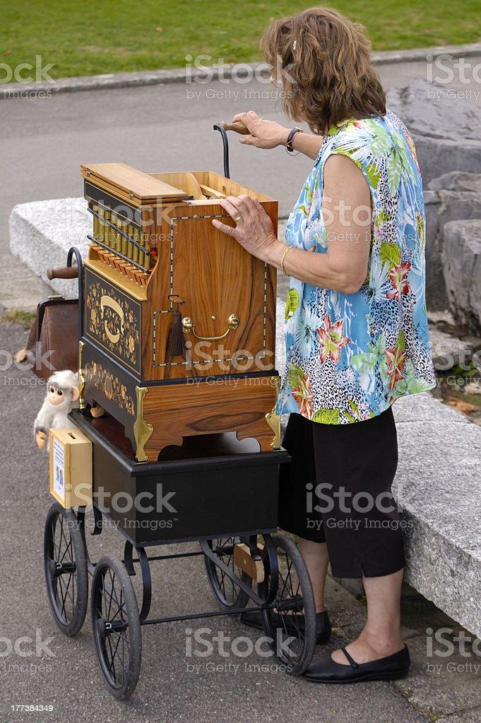 Barrel organist stock photo