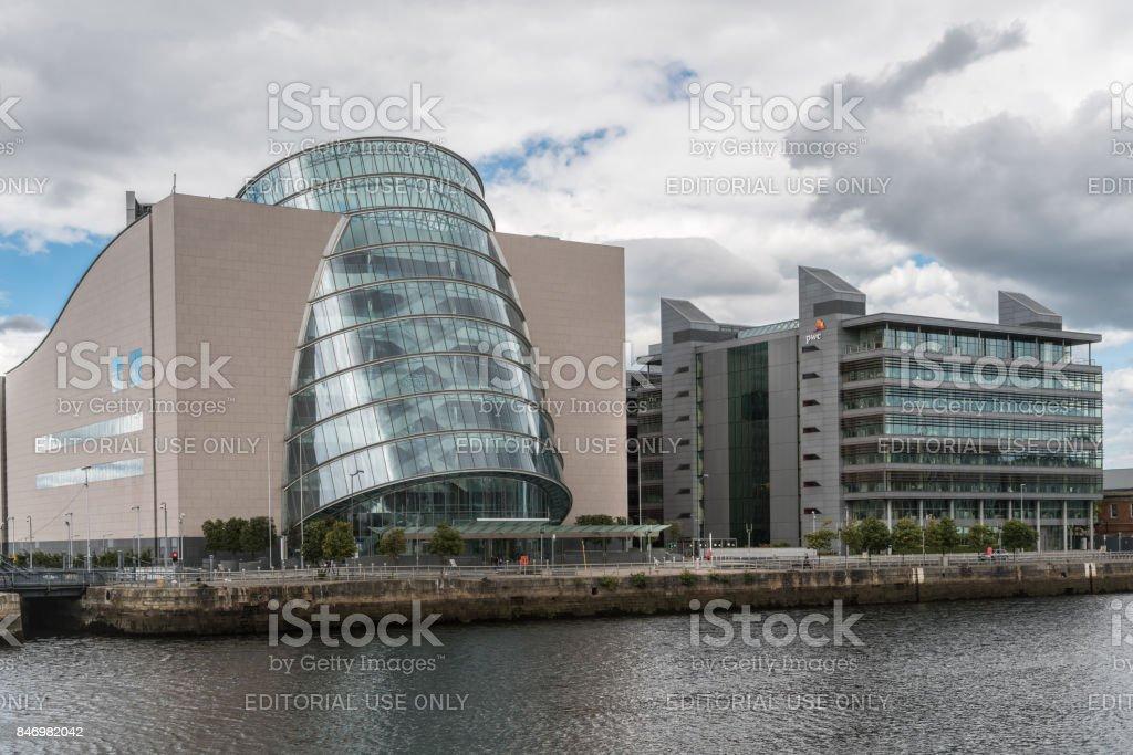 Barrel shaped Convention Center buildings of Dublin, Ireland. stock photo