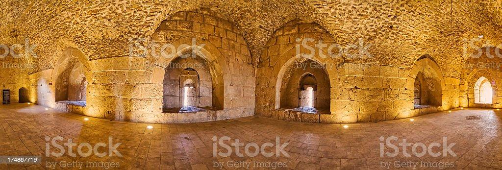 Barrel vault of Ajloun Castle - Jordan royalty-free stock photo