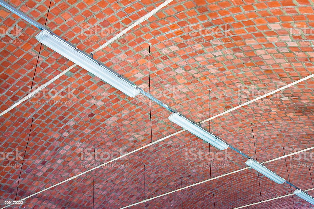 Barrel vault with fluorescent lamps stock photo