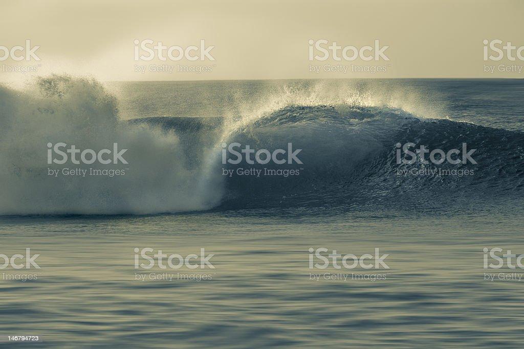 Barrel wave breaking in Pipeline. royalty-free stock photo