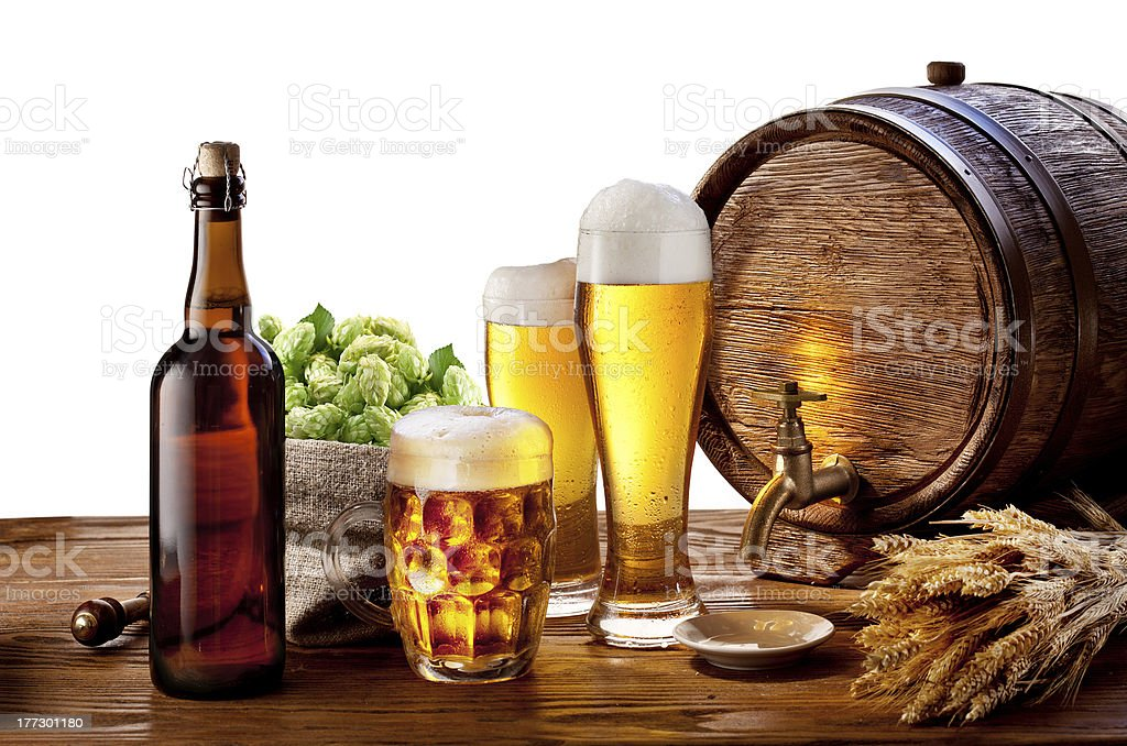 Barrel with beer glasses on a wooden table. royalty-free stock photo