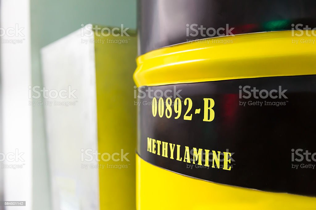 Barrel with methylamine stock photo