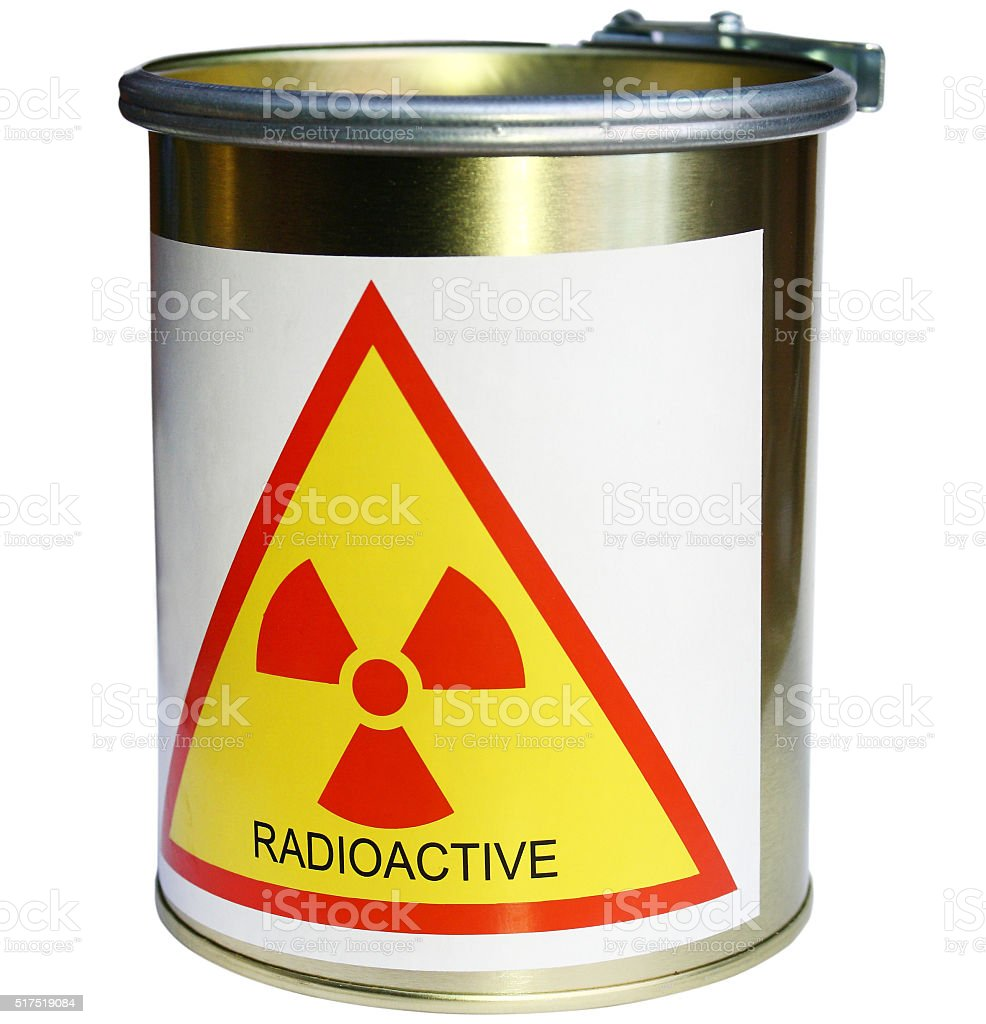 barrel with radiation stock photo