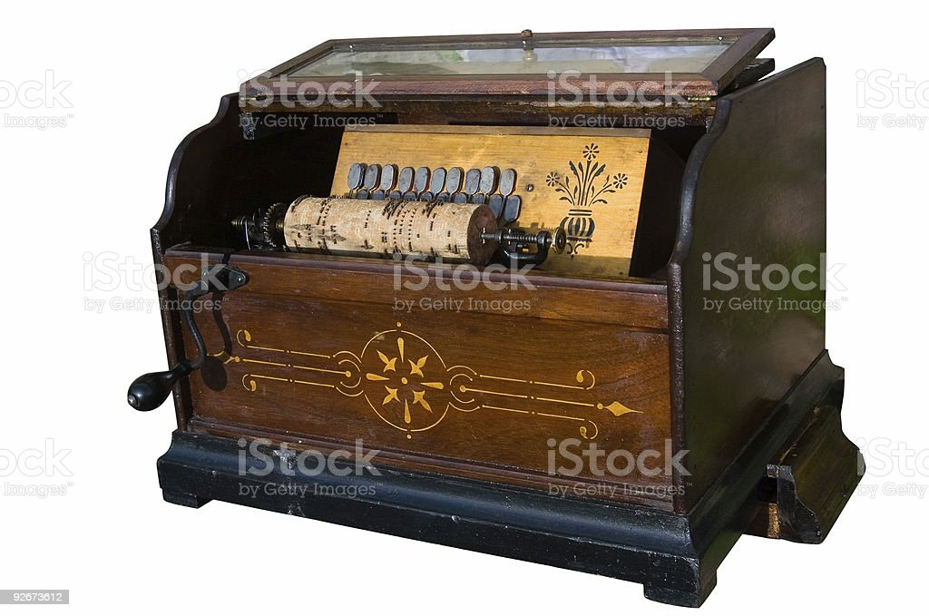 barrel-organ isolated over white background stock photo