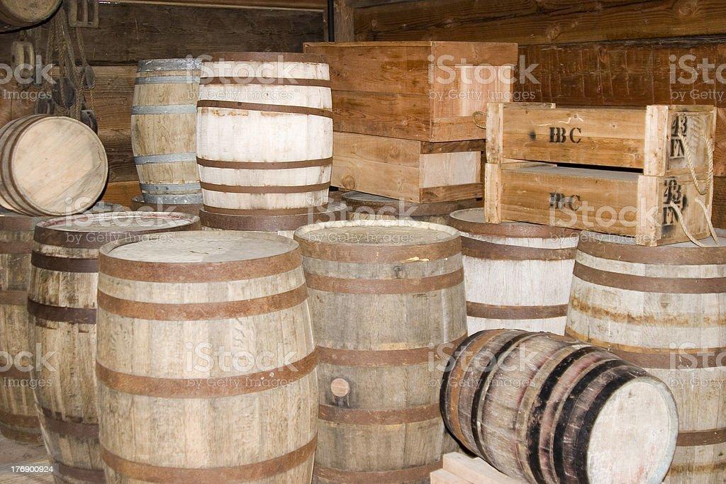 Barrels and crates stock photo