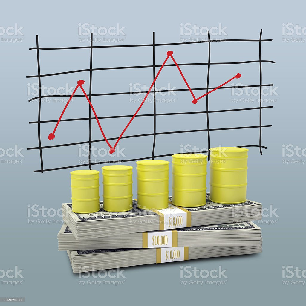 Barrels gas stand on pack of dollars stock photo