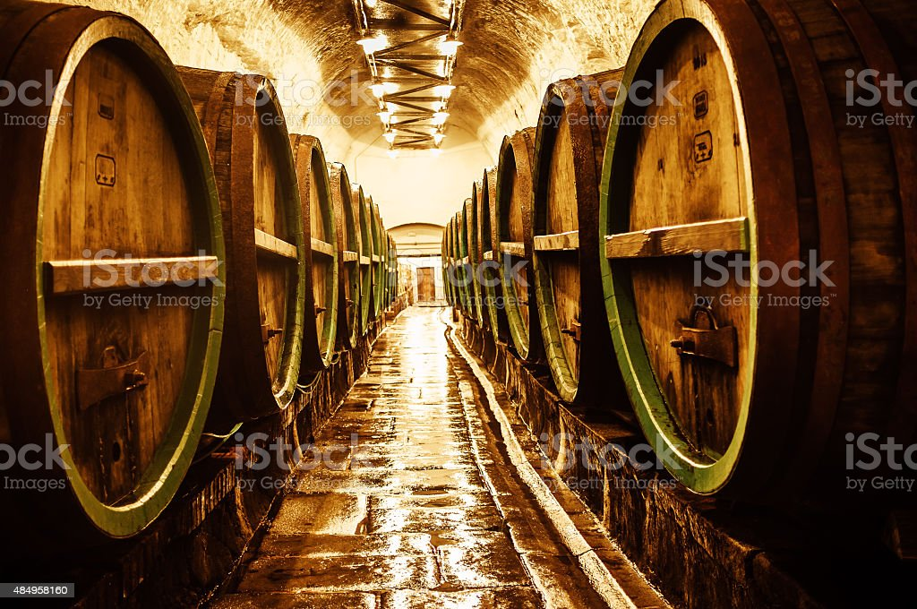 Barrels in brewery stock photo