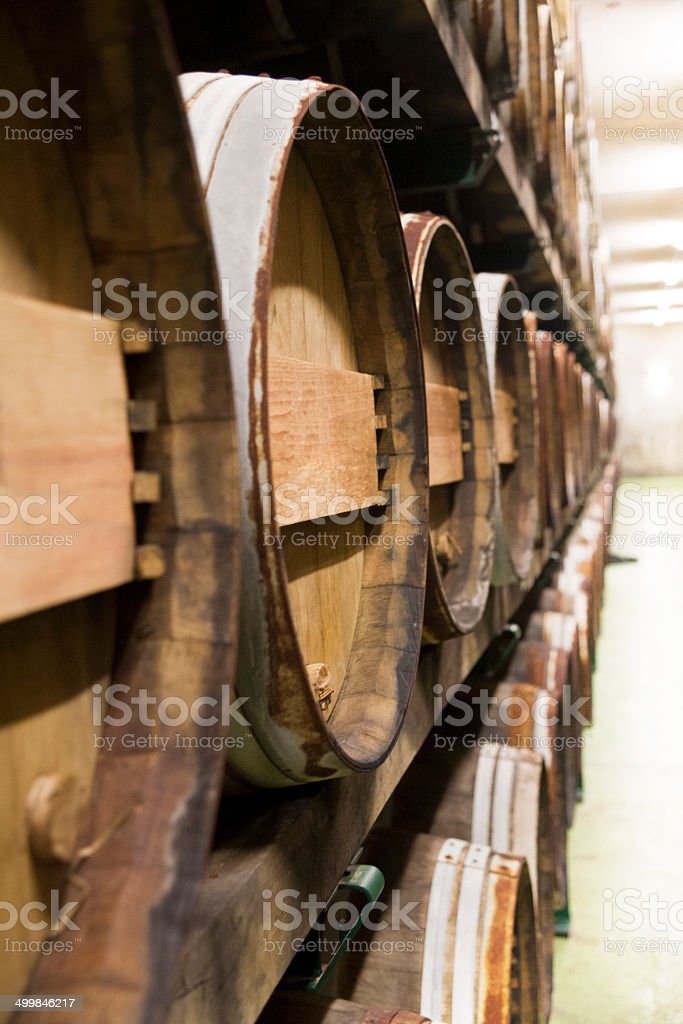 Barrels in the cellar royalty-free stock photo