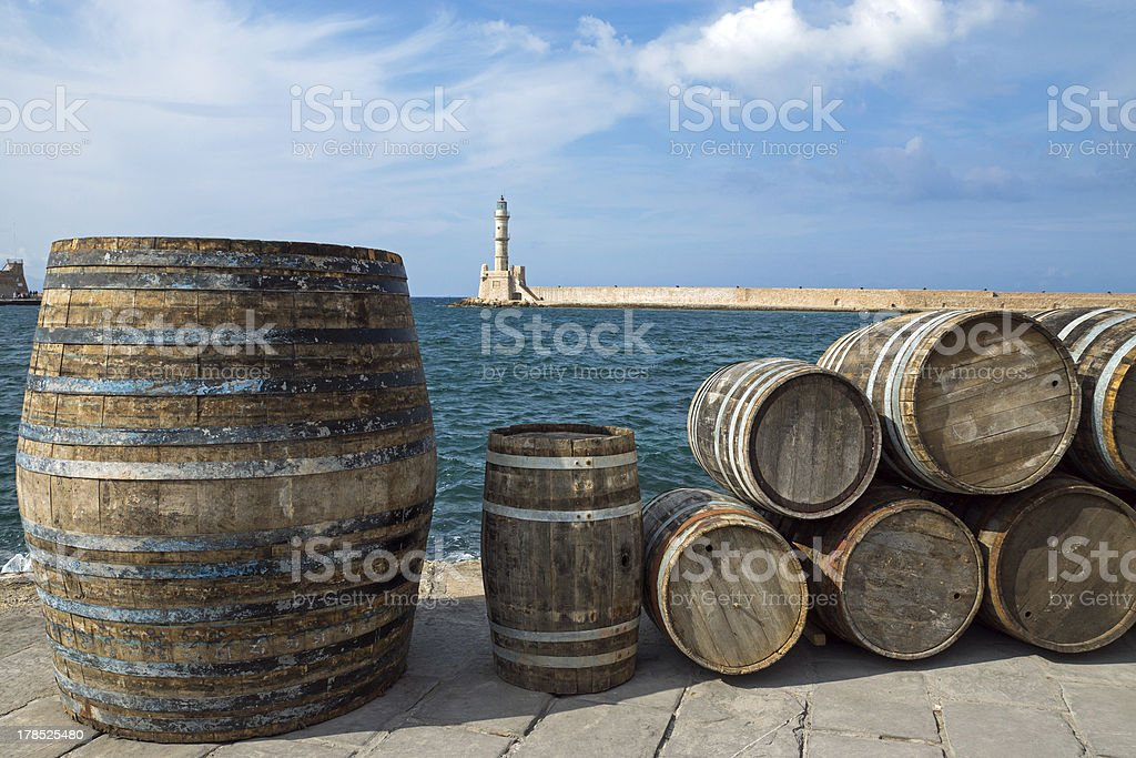 Barrels in the port of Chania royalty-free stock photo