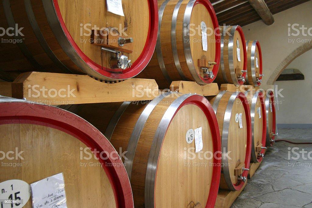 Barrels of Chianti Wine In an Italian Cellar royalty-free stock photo