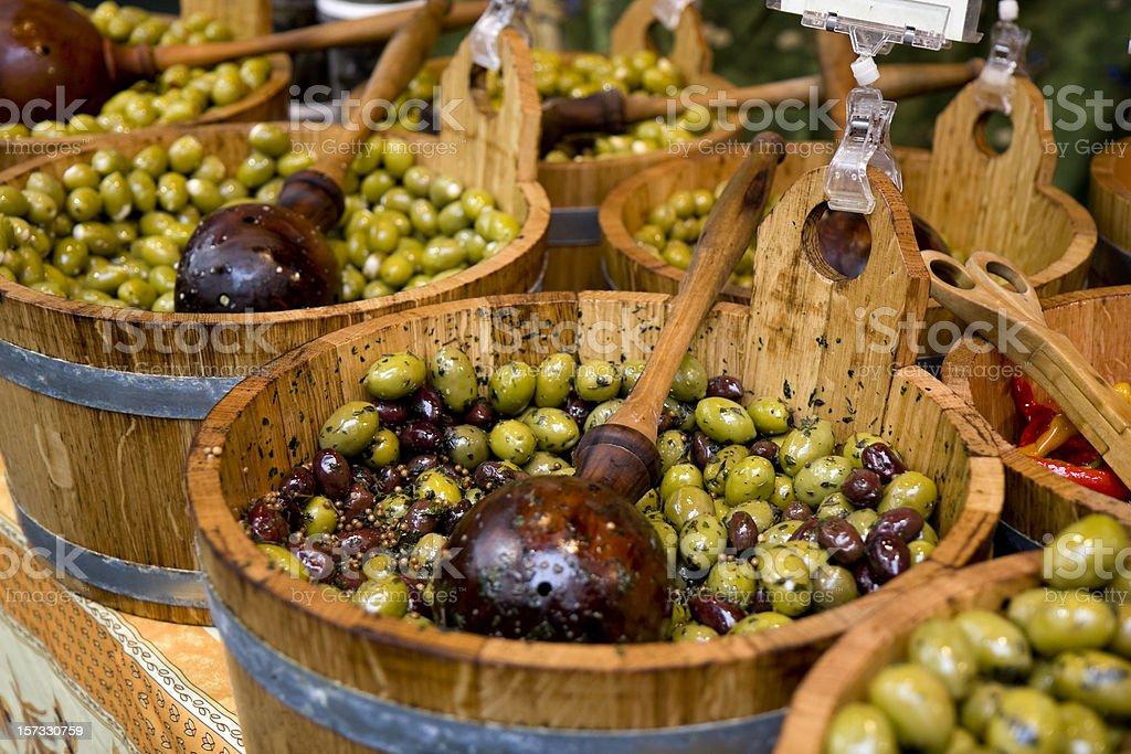 Barrels of olives royalty-free stock photo