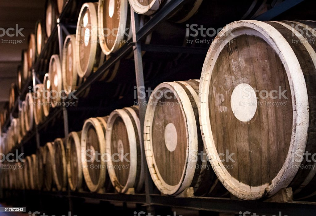 Barrels of plum brandy stock photo