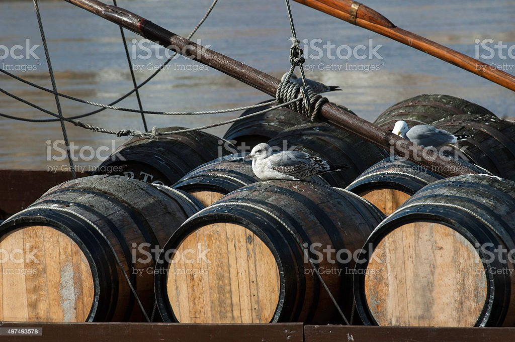 Barrels of port wine stock photo