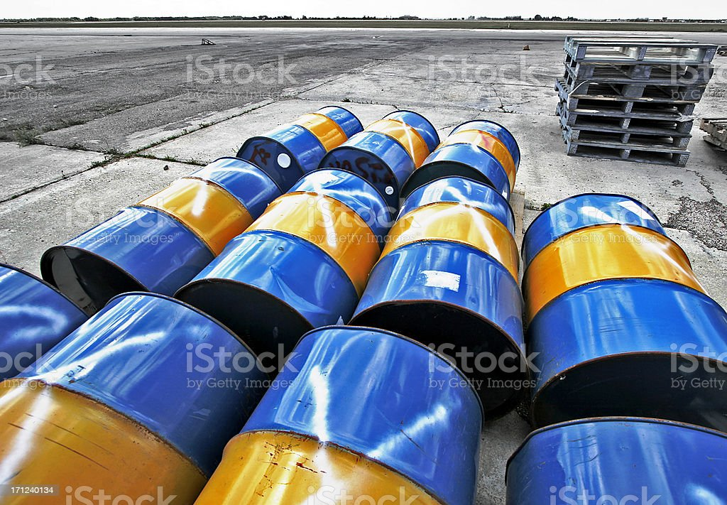 Barrels of waste. (Processed image) stock photo