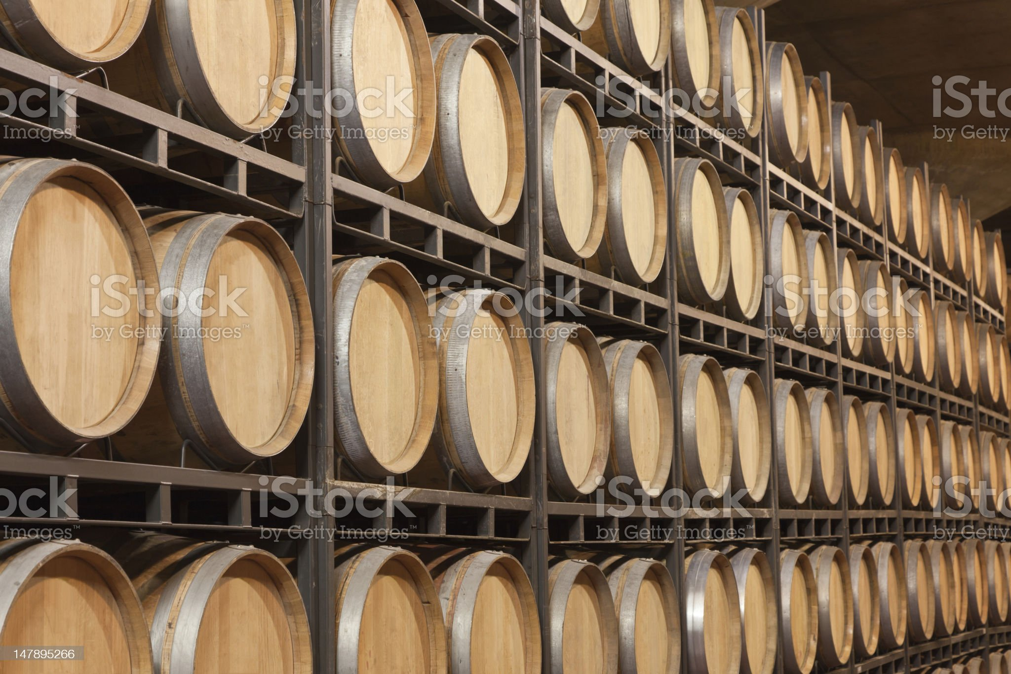 Barrels of wine in cellar royalty-free stock photo
