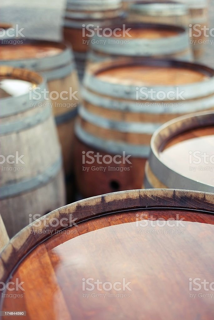Barrels of wine on the street royalty-free stock photo