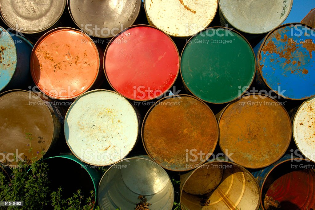 Barrels on end stock photo