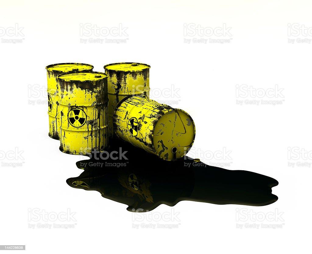 Barrels radioactive stock photo