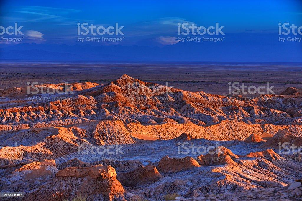 Barren landscape of the Moon valley, Atacama desert, Chile. stock photo