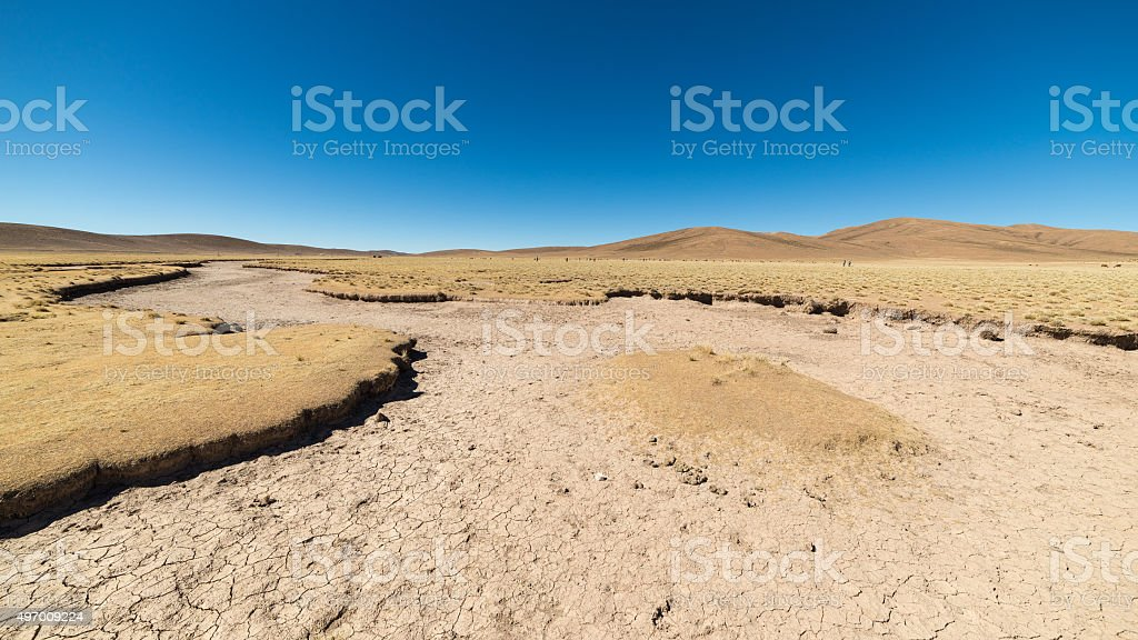 Barren landscape on the highlands of the Bolivian Andes stock photo