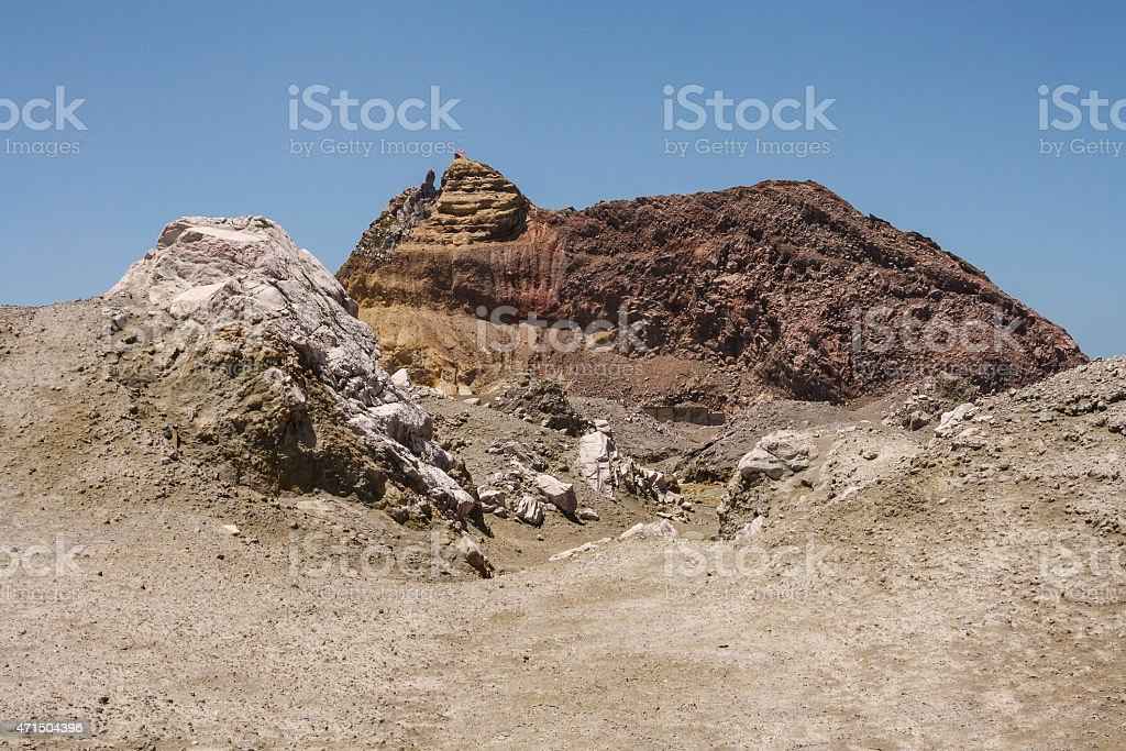 barren slopes on White Island stock photo