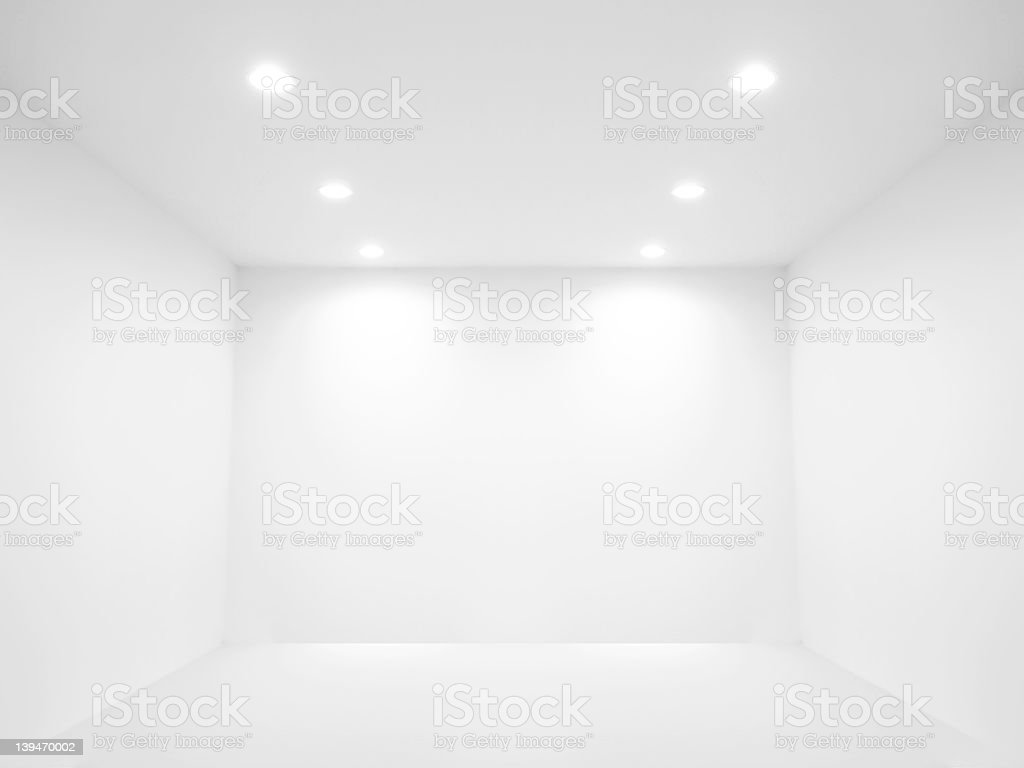 A barren, white room depicting spot lights stock photo