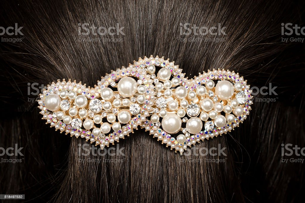 barrette in the hair stock photo