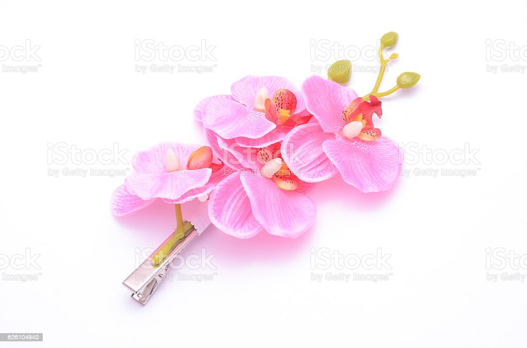 barrette with pink flowers isolated on white stock photo